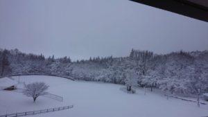 雪景色の猪苗代